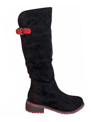 Faux Suede Knee High Riding Boots For Women