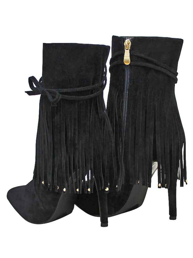 Black Moccasin Fringe Bootie Pumps For Women