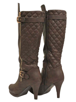 Tall Quilted High Heel Boots For Women