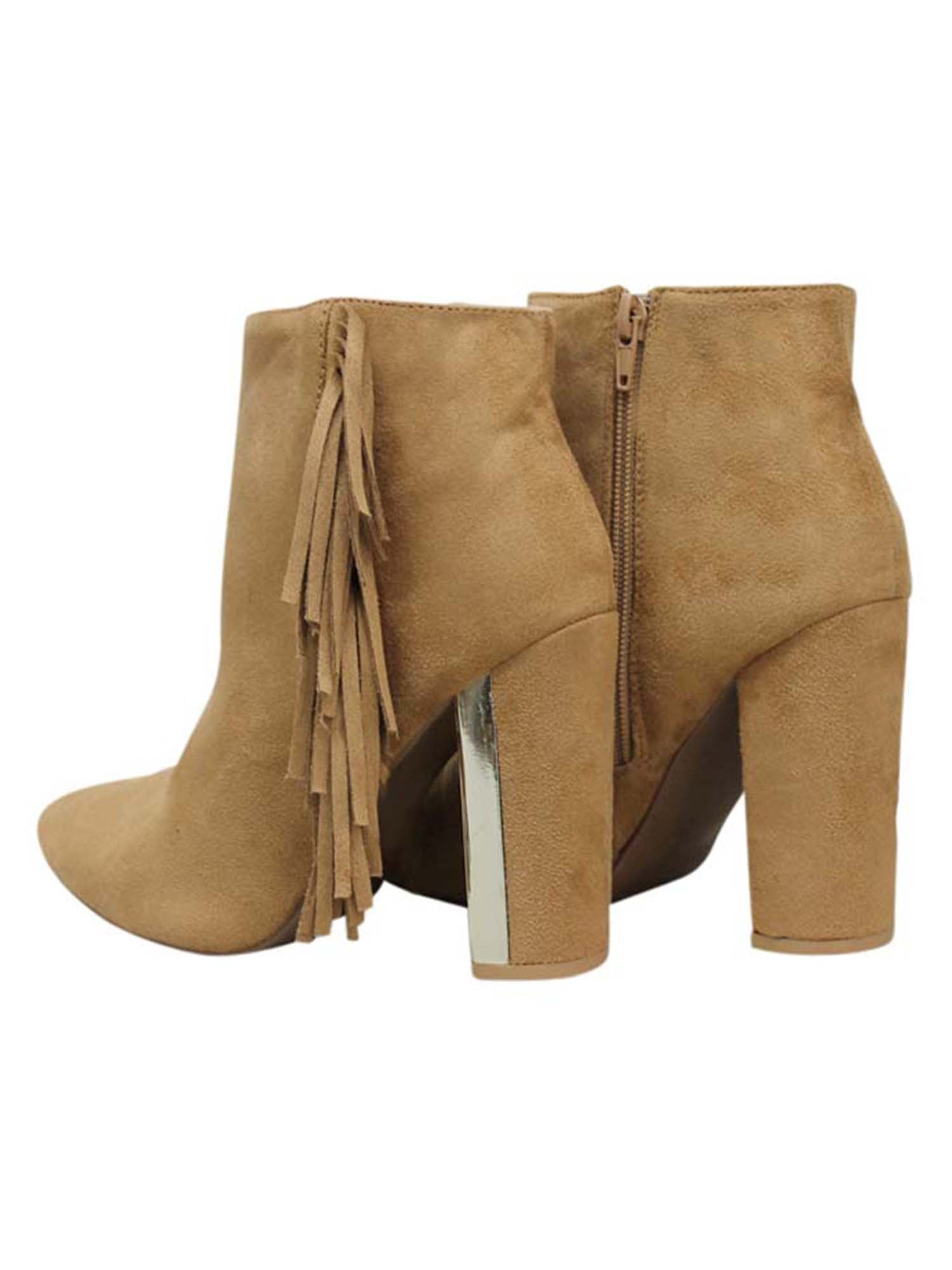 Tan Womens Booties With Stacked Heel & Fringe