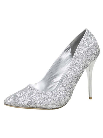 Silver Glitter Pointed Stiletto Pumps For Women Size 8