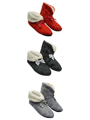 Black Red & Gray Hearts Plush Fleece Lined Slippers 3 Pack