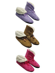 Pink Purple & Brown Hearts Plush Fleece Lined Slippers 3 Pack