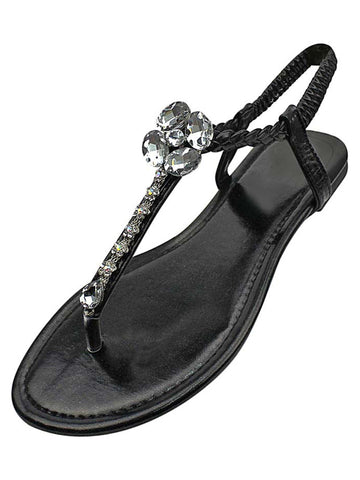 Womens Flat Thong Sandals With Crystals