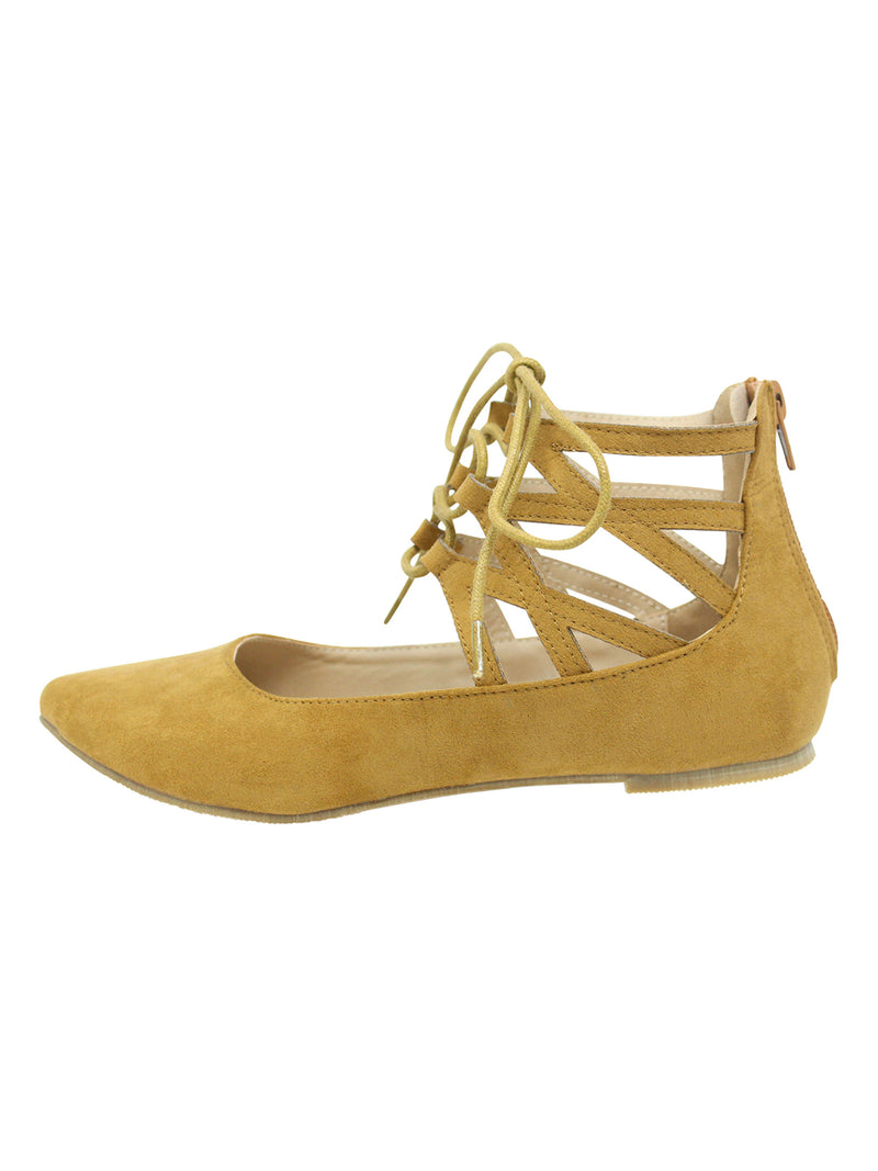 Lace-Up Suede Style Womens Ballet Flats