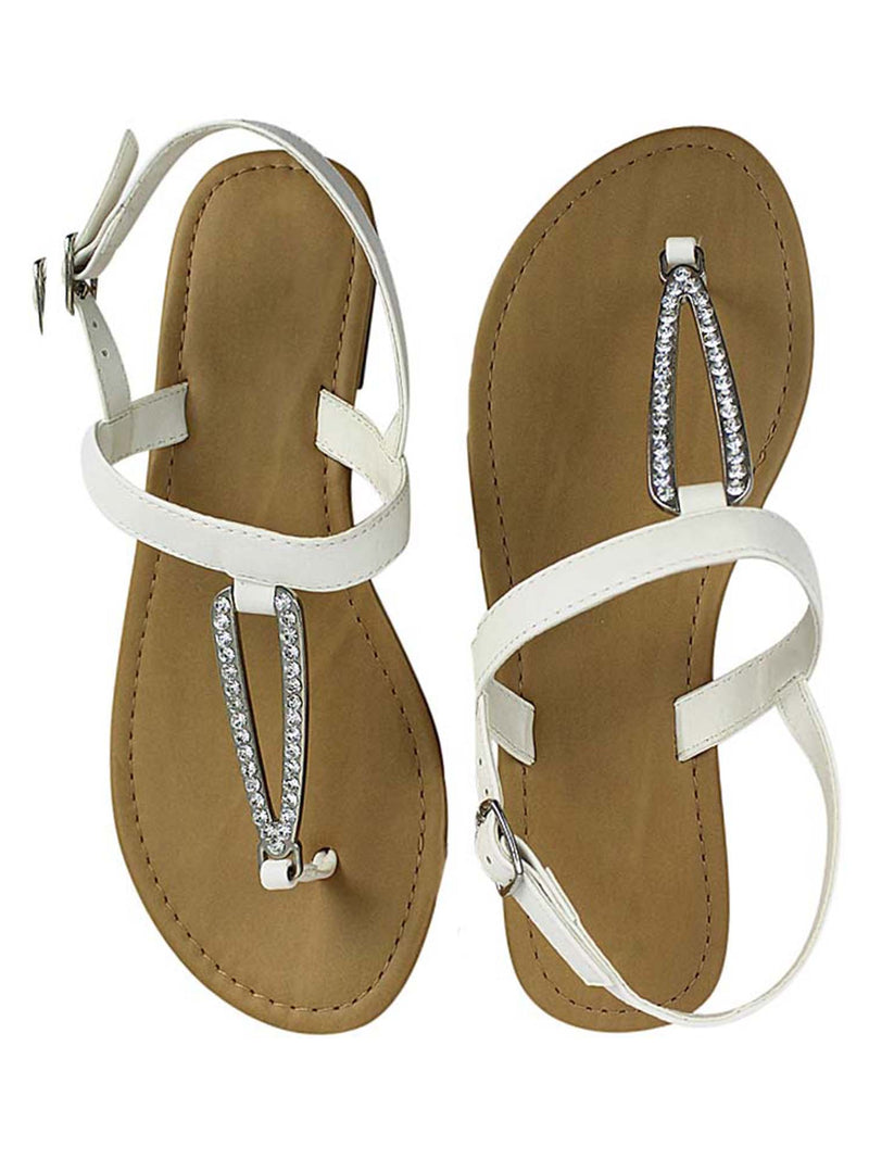Thong Womens Sandals With Rhinestone Buckle