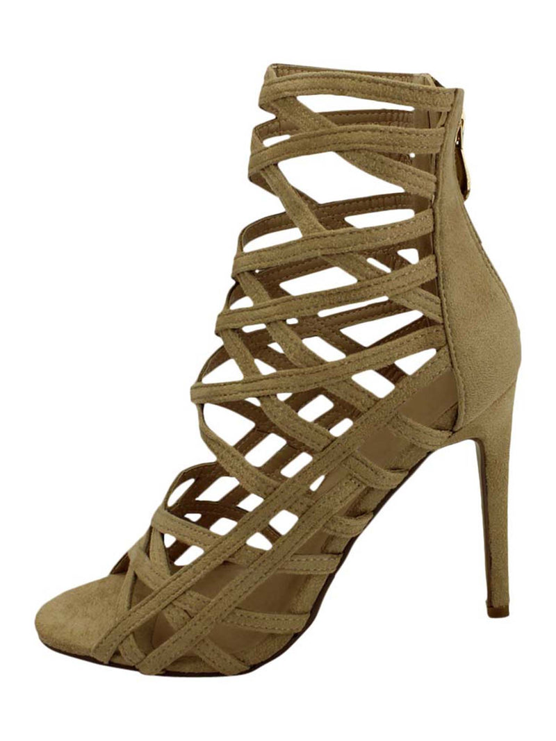 Womens Beige Strappy Caged High Heel Sandal Pumps