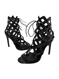 Caged Lace-Up High Heel Womens Booties