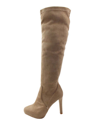 Knee High Heel Womens Suede-Like Boots