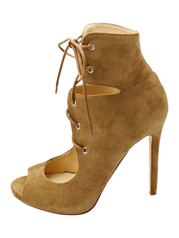 Camel Womens Lace-Up Peep Toe Pumps