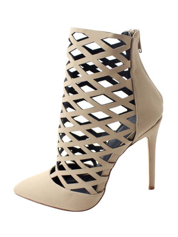 Beige Womens Caged High Heel Bootie Pumps