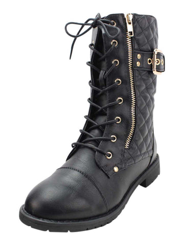 Quilted Womens Combat Boots With Side Buckle
