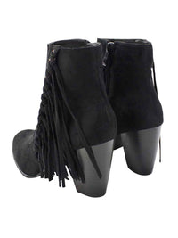 Boho Fringe Womens Stacked Heel Booties