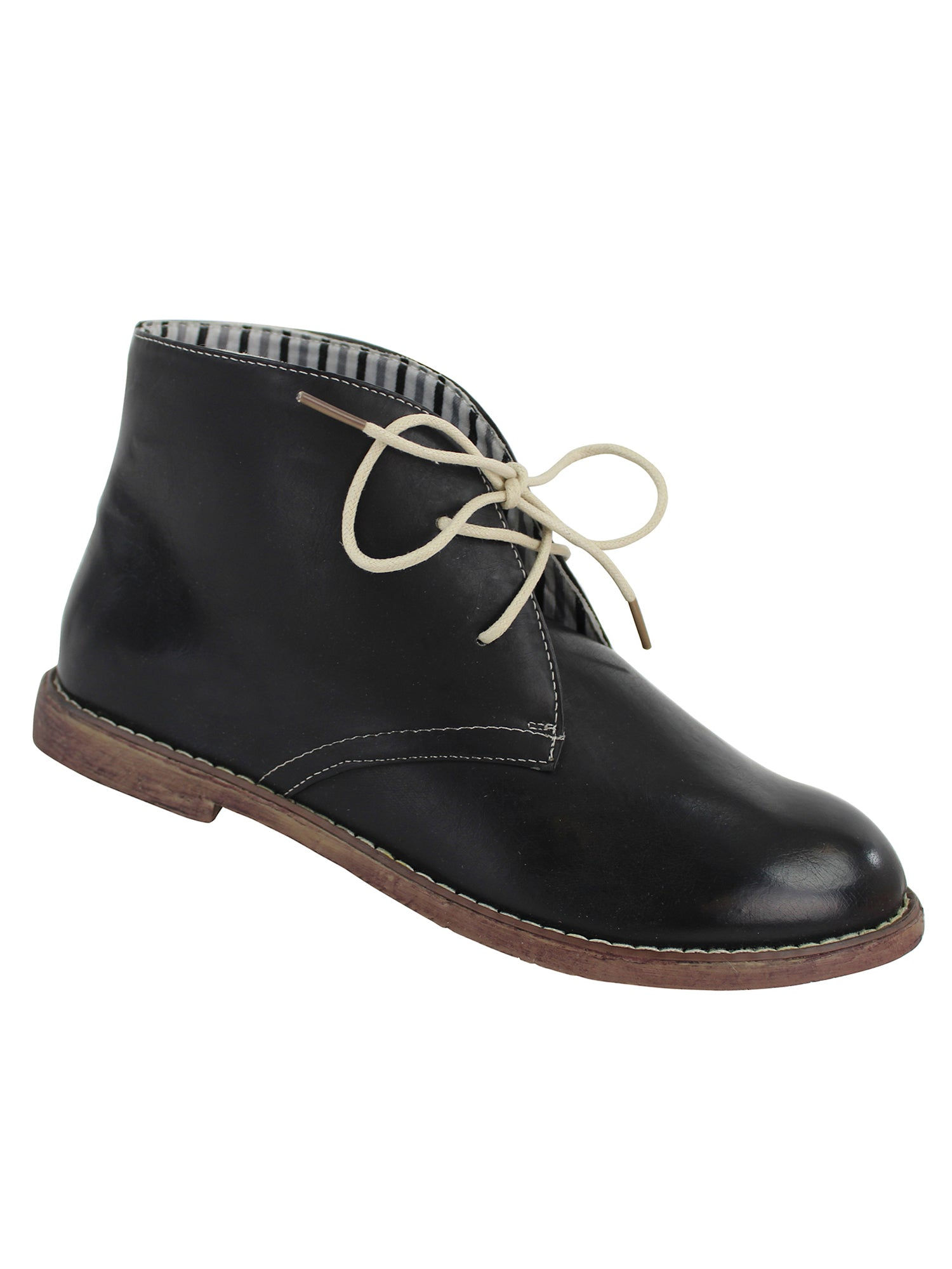 Black Lace-Up Womens Flat Ankle Boots