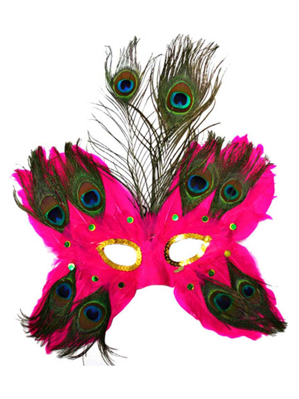 Fuchsia Butterfly Peacock Masquerade Feather Mask