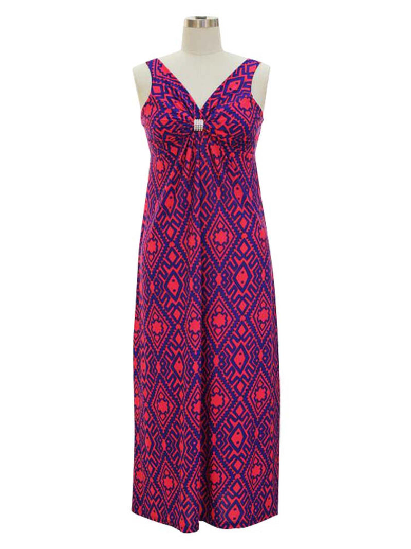 Bohemian Print Sleeveless Long Maxi Dress