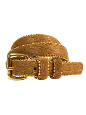 Animal Print Plush Bead Trim Skinny Belt