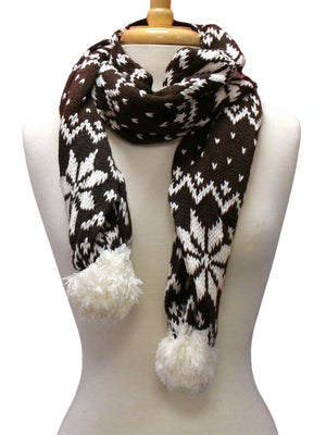 Brown Snowflake Knit Heavy Winter Scarf