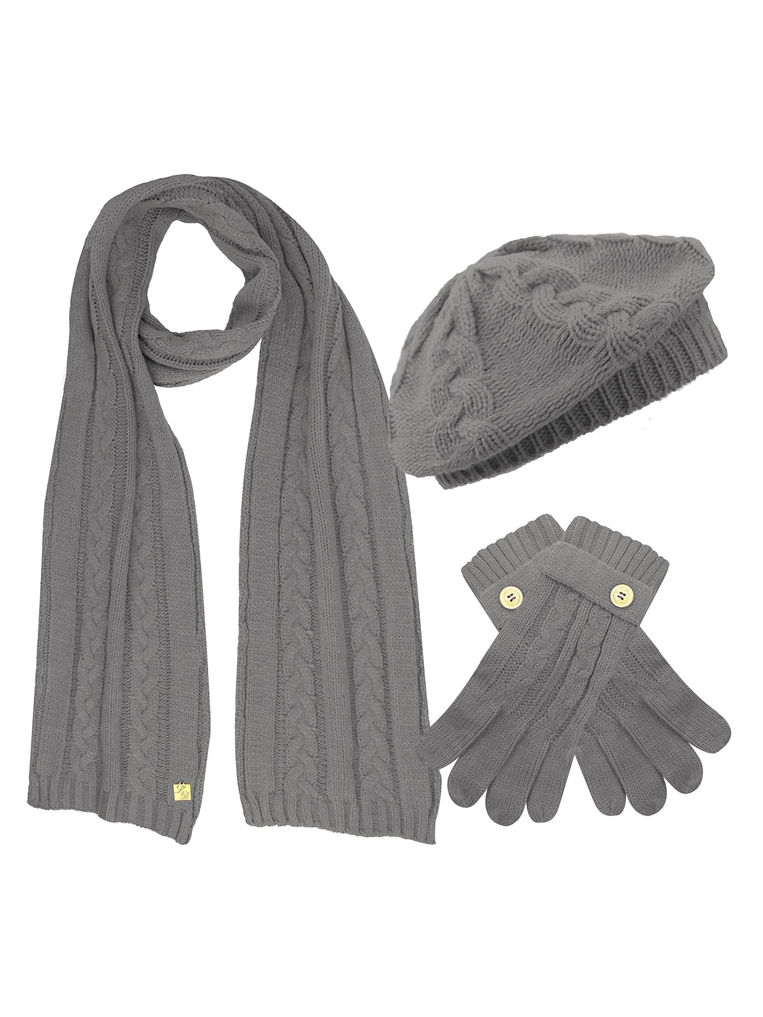 Cable Knit Beret Hat Scarf & Glove Matching 3 Piece Set Set