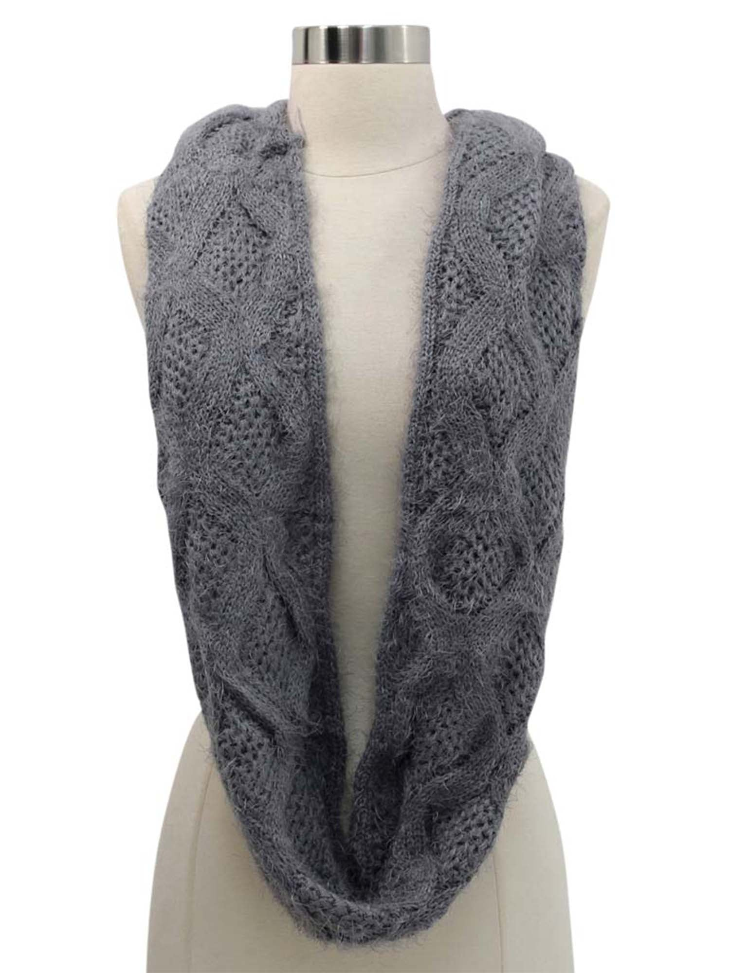 Diamond Knit Plush Fuzzy Eyelash Infinity Circle Scarf