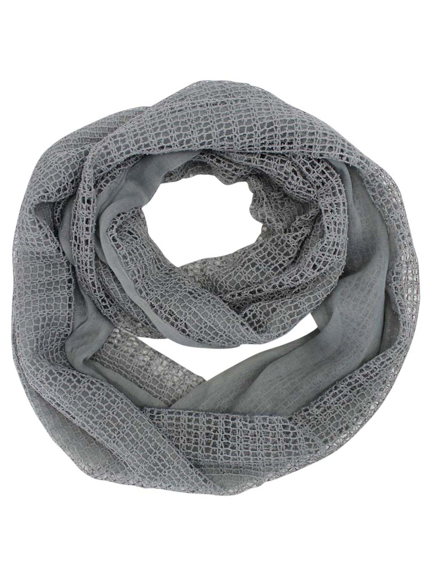 Gray Dual Layered Infinity Scarf With Sequins