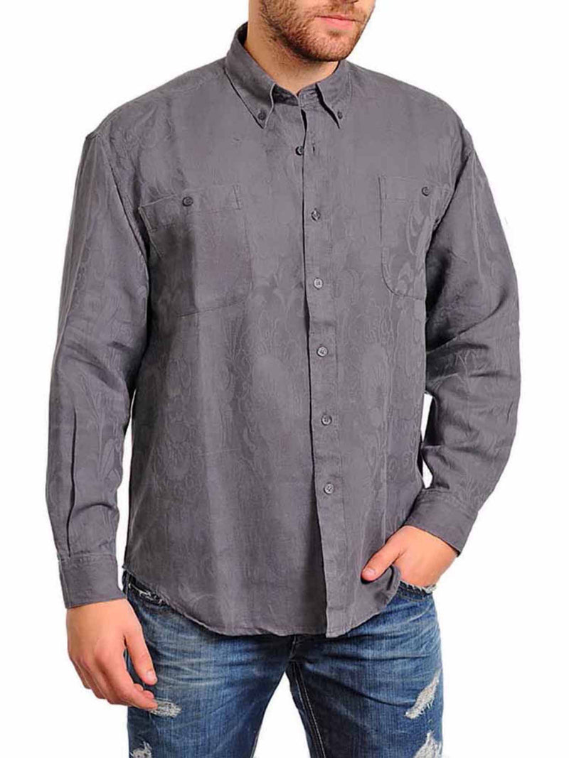 Men's Long Sleeve Textured Button Down Shirt