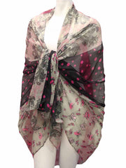 Polka Dot Floral Pareo Wrap Shawl