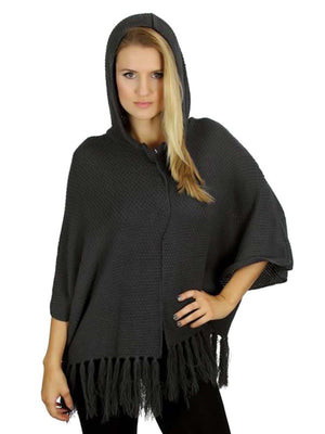 Hooded Knit Poncho Sweater With Fringe