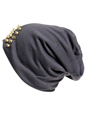 Spike Studded Slouchy Hat With Tiger Face