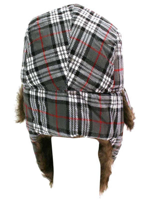 Plaid Faux Fur Lined Trapper Aviator Hat