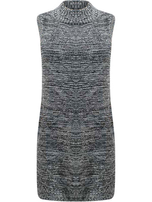 Gray Heathery Sleeveless Knit Sweater Dress