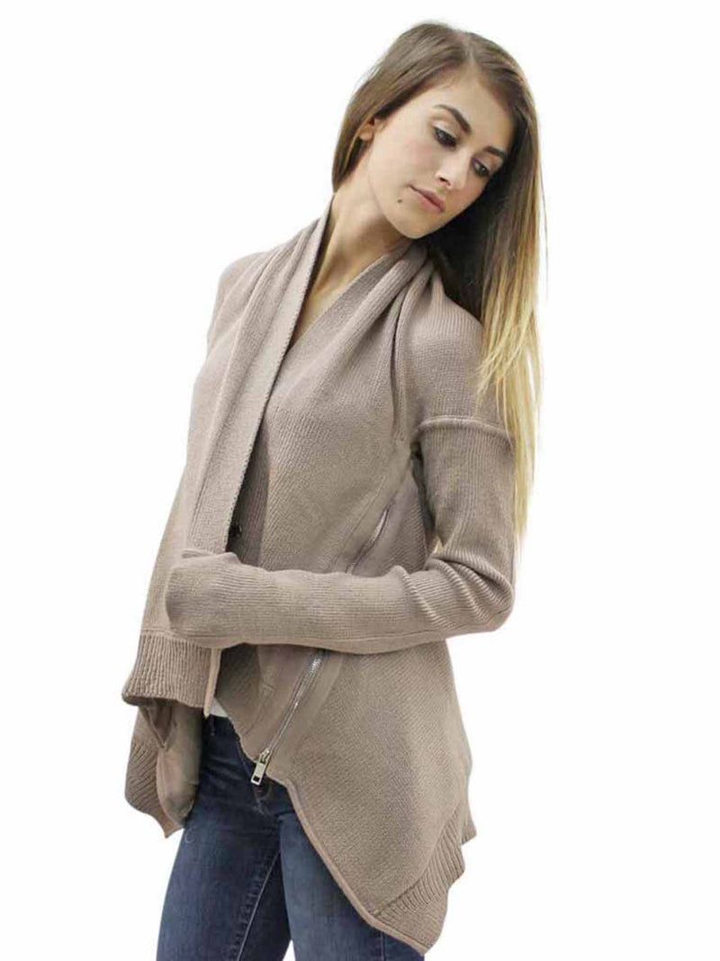 Gray Thick Knit Cardigan With Zipper Detail
