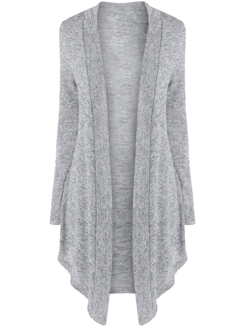 Gray Lightweight Knit Long Draped Cardigan