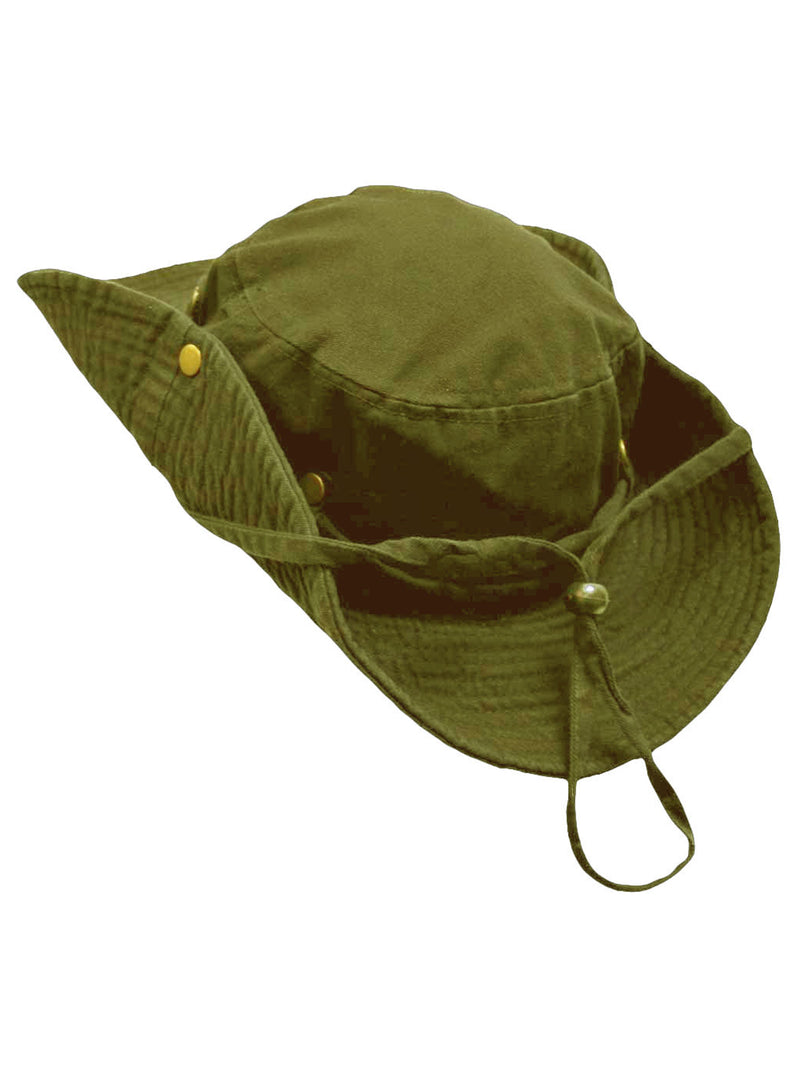 Safari Style Cotton Hat With Chin Cord & Side Snaps
