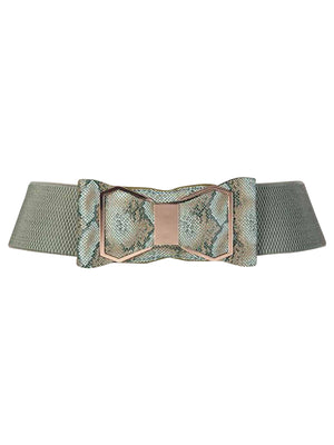 Snake Print Wide Waist Belt With Bow