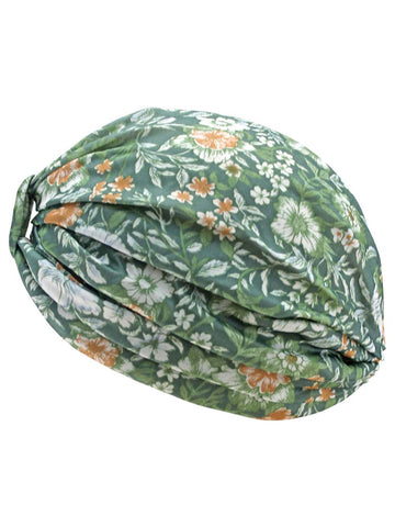 Green Floral Leaf Print Turban Head Wrap