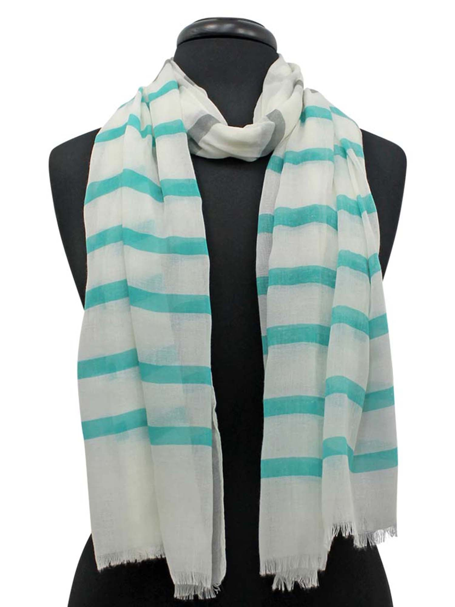 Mint Green Gray & White Stripe Pattern Lightweight Oblong Scarf