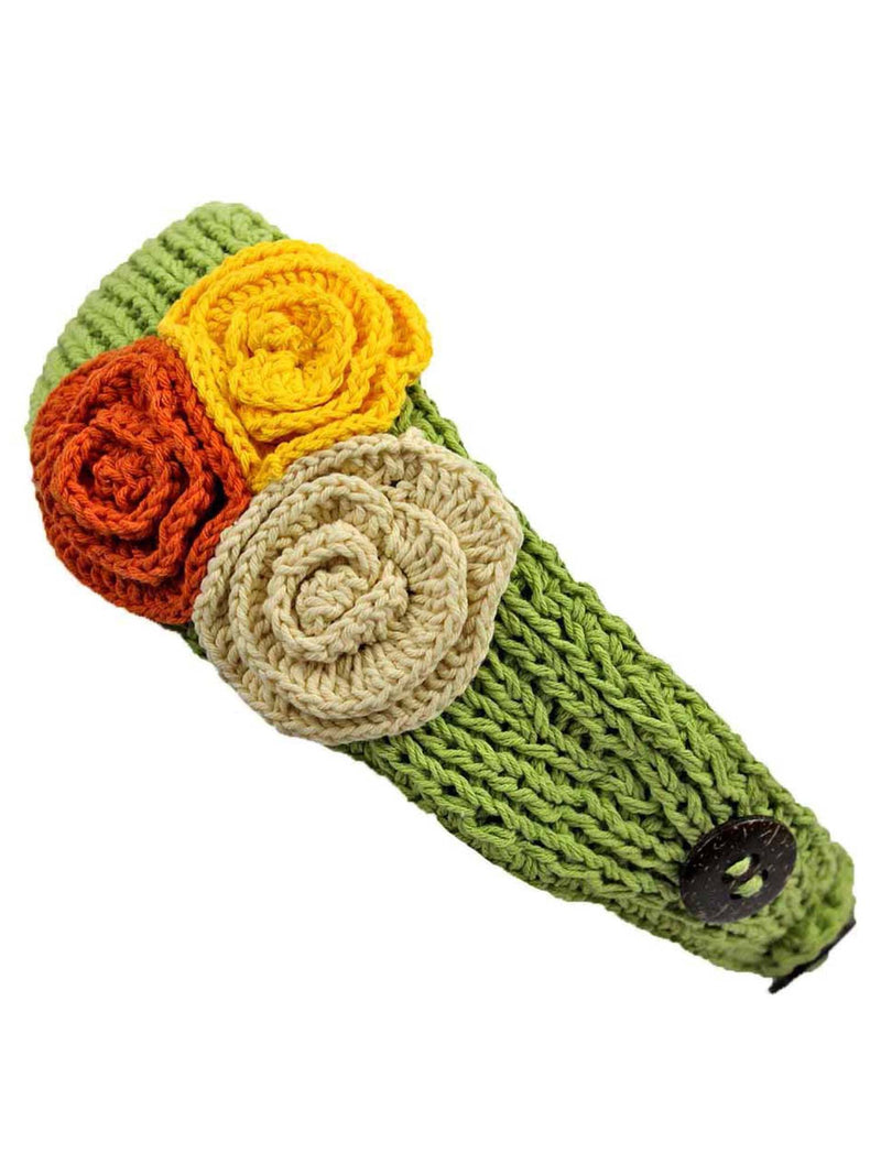 Crochet Headband With Three Knit Flowers
