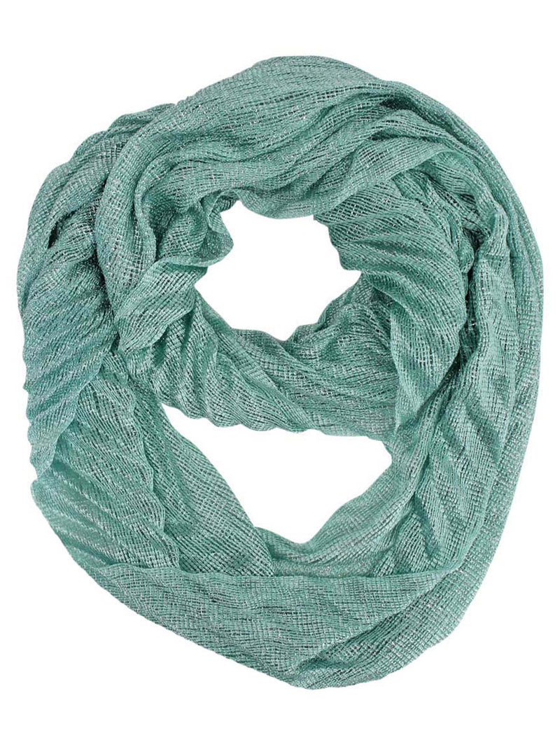 Mint Green Metallic Pleated Circular Scarf