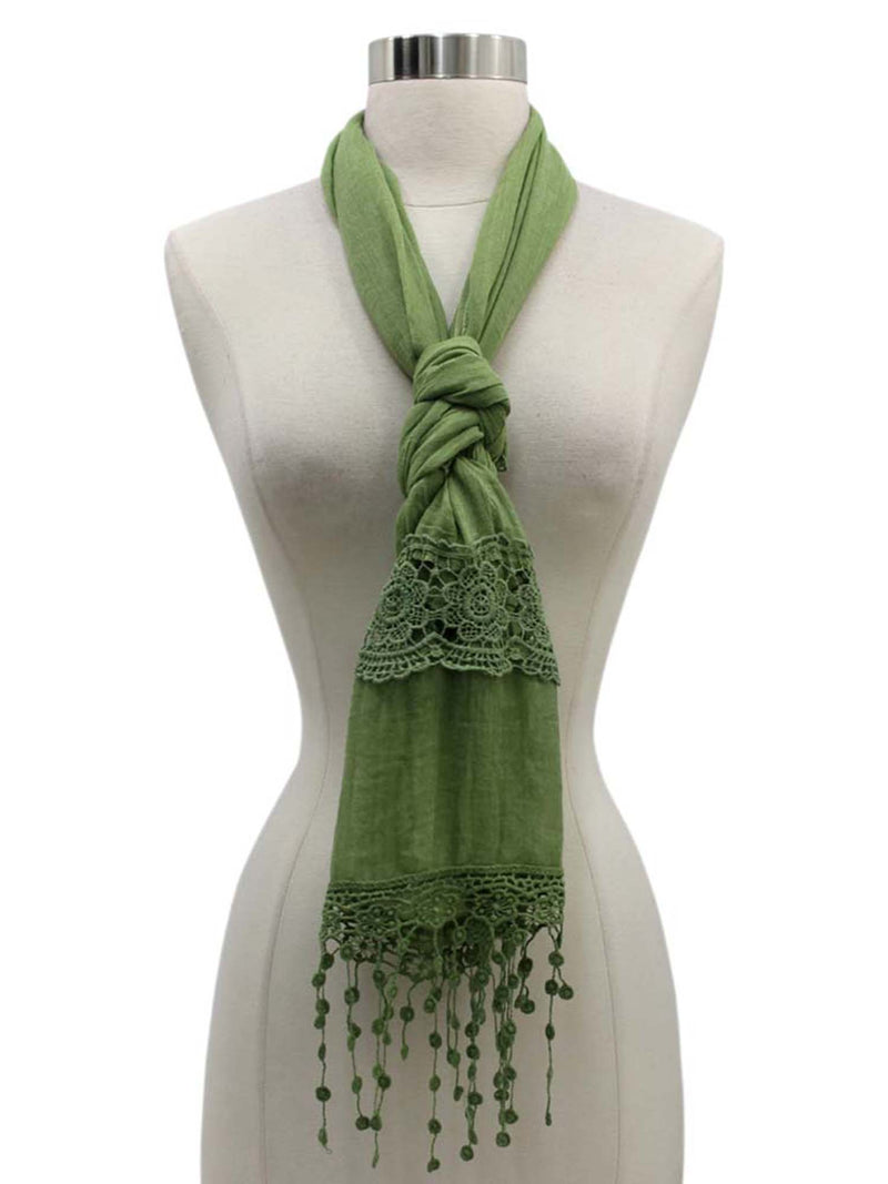 Lightweight Scarf With Lace Fringe Trim