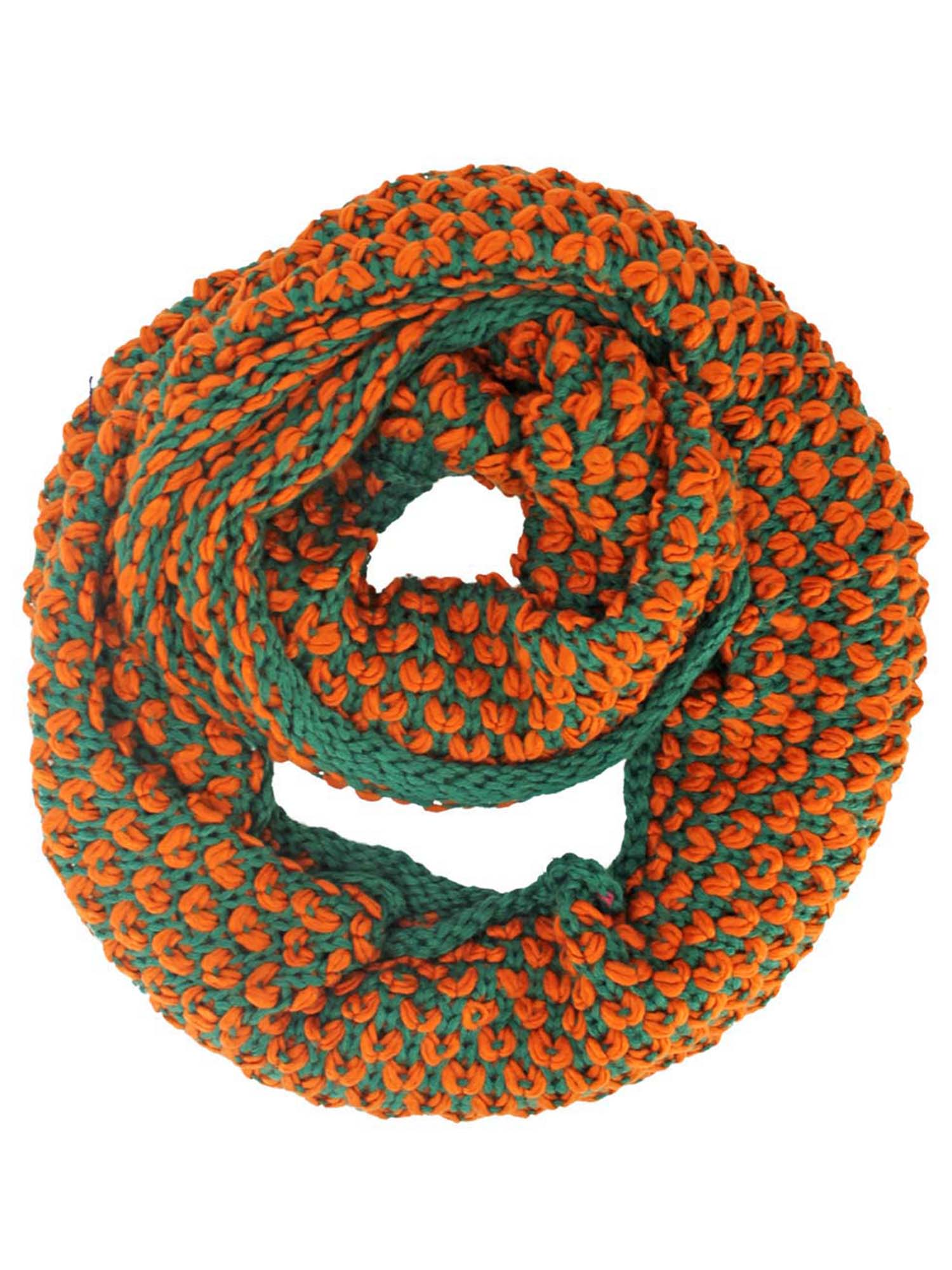 Two-Tone Knit Winter Infinity Scarf