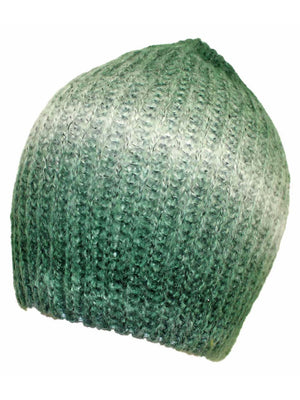 Green Ombre Dip Dyed Gradient Knit Slouchy Beanie Hat