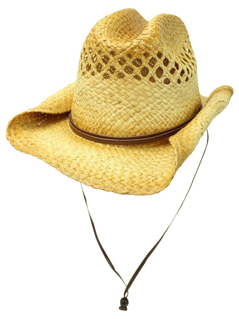 Vented Rocker Style Bended Brim Distressed Straw Cowboy Hat With Chin Cord