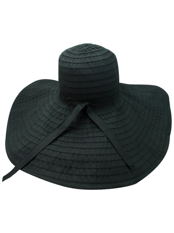 Black Flexible Floppy Hat With Oversized Brim