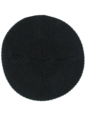 Black Knit Soft Traditional Tami Beret Hat Cap