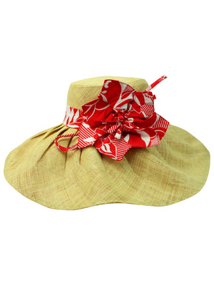 Floppy Hat With Kettle Brim And Red & White Bow