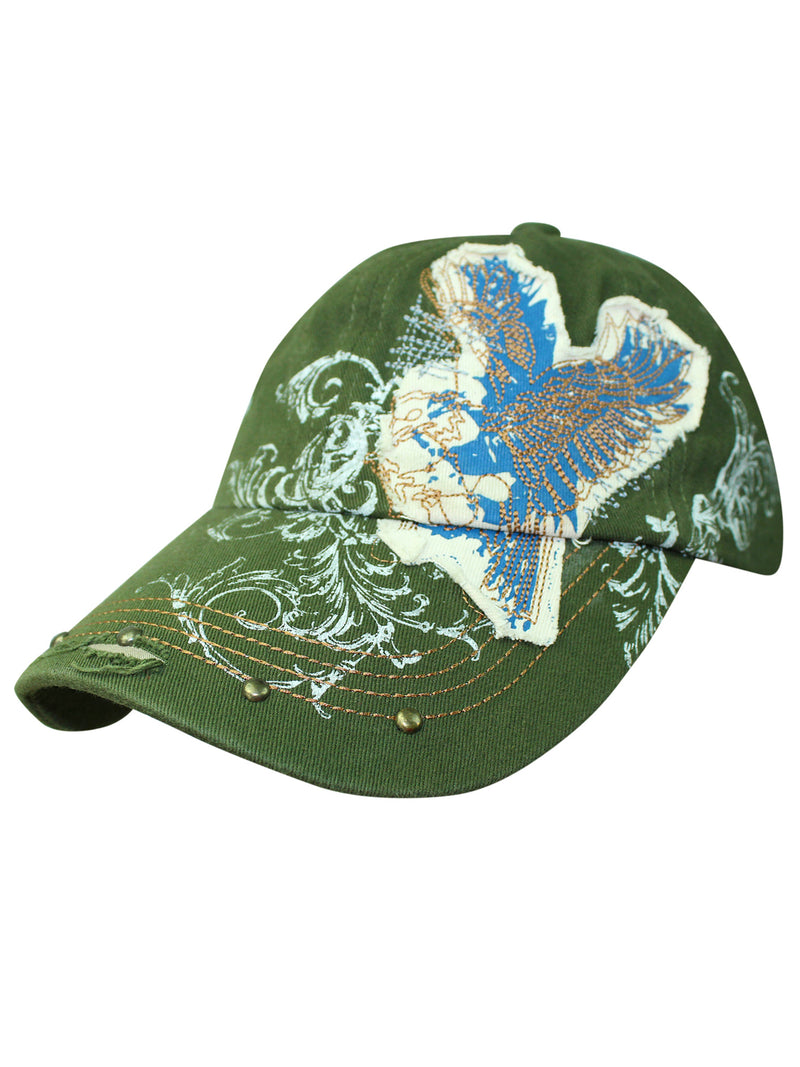 Baseball Cap With Eagle Patch