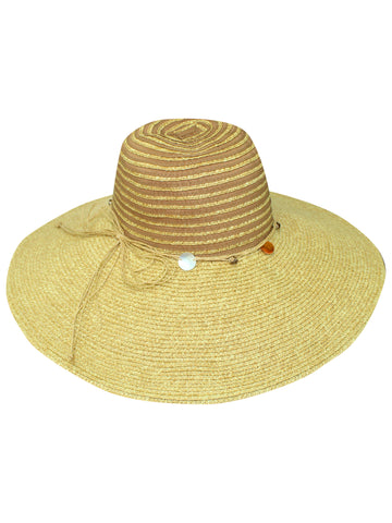 Natural Wide Brim Floppy Hat With Beaded Headband