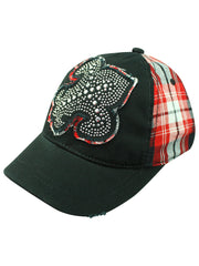 Plaid Baseball Cap With Giant Fleur De Lis