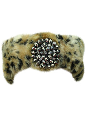 Faux Fur Headband With Beaded Broach